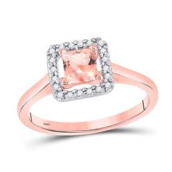 Womens Princess Morganite Diamond Solitaire Ring 1/3 Cttw 10kt Rose Gold - REF-17N5F