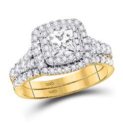 Princess Diamond Halo Bridal Wedding Ring Band Set 1-1/2 Cttw 14kt Yellow Gold - REF-203W9K