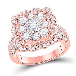 Womens Round Diamond Square Flower Cluster Ring 2 Cttw 14kt Rose Gold - REF-153F5W