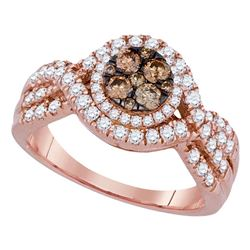 Womens Round Brown Diamond Cluster Ring 1 Cttw 14kt Rose Gold - REF-79K5Y