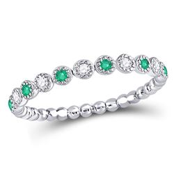 Womens Round Emerald Diamond Dot Stackable Band Ring 1/6 Cttw 10kt White Gold - REF-13M9H