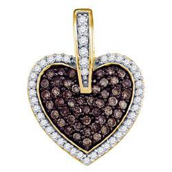 Womens Round Brown Diamond Heart Pendant 1/2 Cttw 10kt Yellow Gold - REF-19F5W