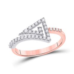 Womens Round Diamond Triangle Ring 1/3 Cttw 10kt Two-tone Gold - REF-19F5W