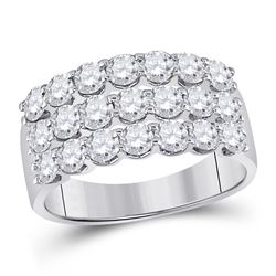 Womens Round Diamond Anniversary Band Ring 2 Cttw 14kt White Gold - REF-142X5A