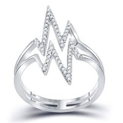 Womens Round Diamond Double Heartbeat Ring 1/5 Cttw 10kt White Gold - REF-14H9R