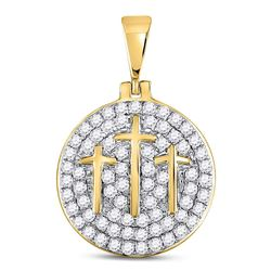 Mens Round Diamond Trinity Triple Cross Charm Pendant 1-1/2 Cttw 10kt Yellow Gold - REF-76A5M