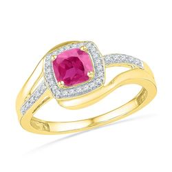 Womens Princess Lab-Created Pink Sapphire Solitaire Ring 1 Cttw 10kt Yellow Gold - REF-14W5K