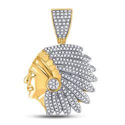 Mens Round Diamond Native Headdress Charm Pendant 1/2 Cttw 10kt Yellow Gold - REF-41X5A