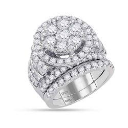 Round Diamond Bridal Wedding Ring Band Set 4-7/8 Cttw 14kt White Gold - REF-420H5R
