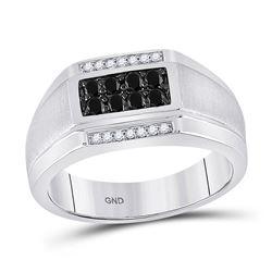Mens Round Black Color Enhanced Diamond Rectangle Cluster Ring 3/8 Cttw 10kt White Gold - REF-34H5R