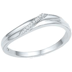 Womens Round Diamond Simple Single Row Band Ring .03 Cttw 10kt White Gold - REF-9M5H
