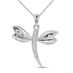 Diamond-accented Dragonfly Womens Winged Bug Insect Charm Pendant .03 Cttw 10k White Gold - REF-6A5M