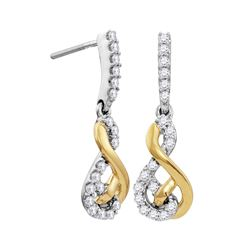 Womens Round Diamond Dangle Earrings 1/2 Cttw 10kt Two-tone White Yellow Gold - REF-36A9M