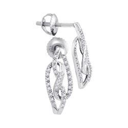Womens Round Diamond Fashion Earrings 1/6 Cttw 10kt White Gold - REF-14M9H