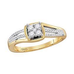 Womens Round Diamond Square Cluster Ring 1/4 Cttw 10kt Yellow Gold - REF-23W5K