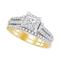 Princess Diamond Halo Bridal Wedding Ring Band Set 1 Cttw 14kt Yellow Gold - REF-101A5M