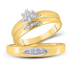 His Hers Round Diamond Cluster Matching Wedding Set 1/12 Cttw 10kt Yellow Gold - REF-22K9Y