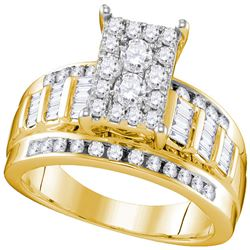 Round Diamond Cluster Bridal Wedding Engagement Ring 7/8 Cttw - Size 7.5 10kt Yellow Gold - REF-53R5