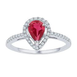 Womens Pear Lab-Created Ruby Diamond Solitaire Ring 1 Cttw 10kt White Gold - REF-17F5W