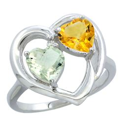 2.61 CTW Diamond, Amethyst & Citrine Ring 14K White Gold - REF-33H9M