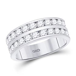 Mens Round Diamond Double Row Wedding Band Ring 2 Cttw 14kt White Gold - REF-164M5H