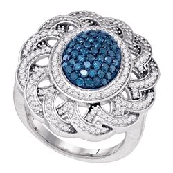 Womens Round Blue Color Enhanced Diamond Cluster Ring 1 Cttw 10kt White Gold - REF-48Y5N