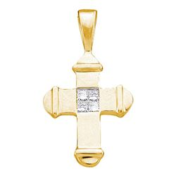 Womens Princess Diamond Cross Pendant 1/20 Cttw 10kt Yellow Gold - REF-4X9A