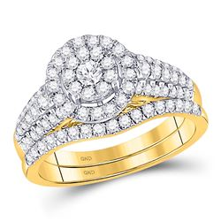 Round Diamond Bridal Wedding Ring Band Set 1 Cttw 14kt Yellow Gold - REF-79M5H