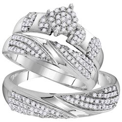 His Hers Round Diamond Cluster Matching Wedding Set 3/4 Cttw 10kt White Gold - REF-55R9X