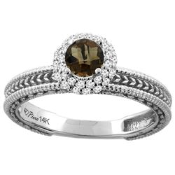 0.67 CTW Quartz & Diamond Ring 14K White Gold - REF-53W3F