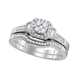 Round Diamond Cluster Bridal Wedding Ring Band Set 3/8 Cttw 10k White Gold - REF-35F5W