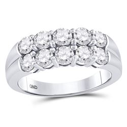 Womens Round Diamond 2-Row Anniversary Band Ring 1-1/2 Cttw 14kt White Gold - REF-214W9K