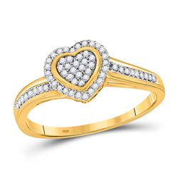 Womens Round Diamond Heart Ring 1/6 Cttw 10kt Yellow Gold - REF-13A9M
