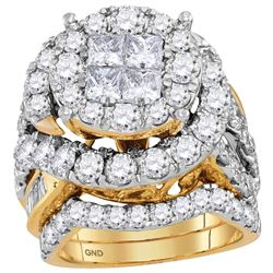 Princess Diamond Bridal Wedding Ring Band Set 5-5/8 Cttw 14kt Yellow Gold - REF-483X5A