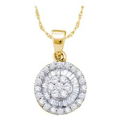 Womens Round Diamond Framed Flower Cluster Pendant 5/8 Cttw 14kt Yellow Gold - REF-28W5K