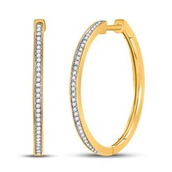 Womens Round Diamond Hoop Earrings 1/4 Cttw 10kt Yellow Gold - REF-21X5A