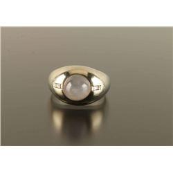Mens 18k White Star Sapphire Ring