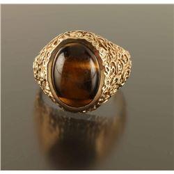 Mens Beautiful Tiger's Eye Gold Ring