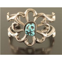 Navajo Floral Sandcast & Turquoise Cuff