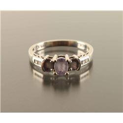 Tanzanite Round Diamond 3 Stone Ring Size 7