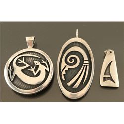 Lot of 3 Sterling Hopi Pendants