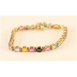 14kt Multi-colored Genuine Sapphire Bracelet