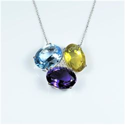 Striking Multi-Gem Designer Pendant