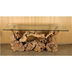 Burl Wood Console Table