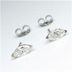 Brilliant Pair of Marquise cut Diamond Stud