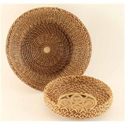 Lot of (2) Indian Pine Needle Baskets