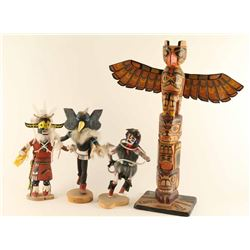 Lot of (3) Kachinas and Totem