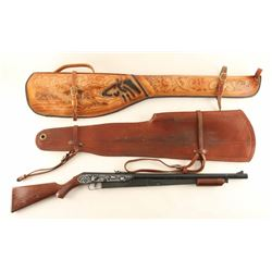 Lot of Leather Rifle Scabbards and BB Gun