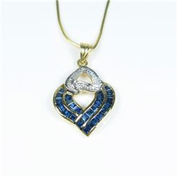 New Blue Sapphire and Diamond Pendant