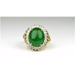 Extraordinary Fine Green Jade and Diamond Ring